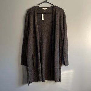 MADEWELL CHARCOAL DUSTER OPEN WOOL CARDIGAN